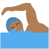 Person Swimming: Medium-Dark Skin Tone on Twitter Twemoji 2.2