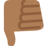 Thumbs Down: Medium-Dark Skin Tone on Twitter Twemoji 2.2