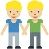 Men Holding Hands: Medium-Light Skin Tone on Twitter Twemoji 2.2