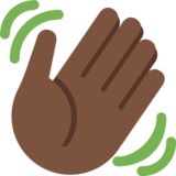 Waving Hand: Dark Skin Tone on Twitter Twemoji 2.2
