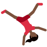 Woman Cartwheeling: Dark Skin Tone on Twitter Twemoji 2.2