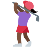 Woman Golfing: Dark Skin Tone on Twitter Twemoji 2.2