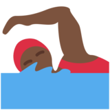 Woman Swimming: Dark Skin Tone on Twitter Twemoji 2.2