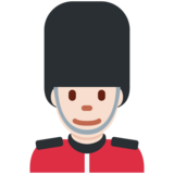 Man Guard: Light Skin Tone on Twitter Twemoji 2.2.1