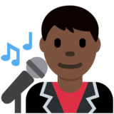 Man Singer: Dark Skin Tone on Twitter Twemoji 2.2.1