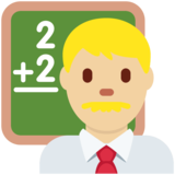 Man Teacher: Medium-Light Skin Tone on Twitter Twemoji 2.2.1