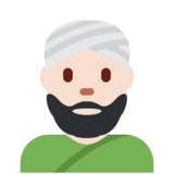 Man Wearing Turban: Light Skin Tone on Twitter Twemoji 2.2.1