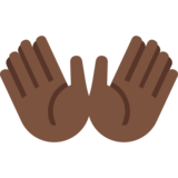 Open Hands: Dark Skin Tone on Twitter Twemoji 2.2.1