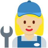 Woman Mechanic: Medium-Light Skin Tone on Twitter Twemoji 2.2.3