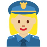 Woman Police Officer: Medium-Light Skin Tone on Twitter Twemoji 2.2.3