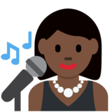 Woman Singer: Dark Skin Tone on Twitter Twemoji 2.2.3