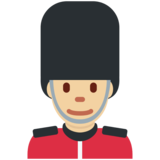 Man Guard: Medium-Light Skin Tone on Twitter Twemoji 2.2.3
