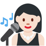 Woman Singer: Light Skin Tone on Twitter Twemoji 2.2.2