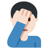 Man Facepalming: Light Skin Tone on Twitter Twemoji 2.2.2