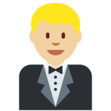 Man in Tuxedo: Medium-Light Skin Tone on Twitter Twemoji 2.2.2