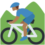 Person Mountain Biking: Medium-Dark Skin Tone on Twitter Twemoji 2.2.2