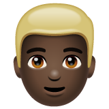 Man: Dark Skin Tone, Blond Hair on WhatsApp 2.19.244