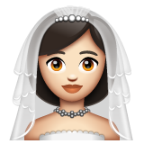 Bride With Veil: Light Skin Tone on WhatsApp 2.19.244