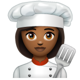Woman Cook: Medium-Dark Skin Tone on WhatsApp 2.19.244