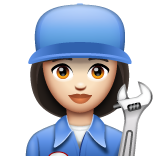 Woman Mechanic: Light Skin Tone on WhatsApp 2.19.244