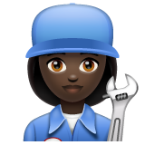 Woman Mechanic: Dark Skin Tone on WhatsApp 2.19.244