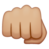 Oncoming Fist: Medium-Light Skin Tone on WhatsApp 2.19.244