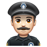Man Police Officer: Light Skin Tone on WhatsApp 2.19.244