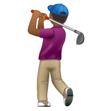 Man Golfing: Medium-Dark Skin Tone on WhatsApp 2.19.244