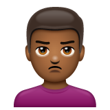 Man Pouting: Medium-Dark Skin Tone on WhatsApp 2.19.244