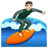 Man Surfing: Light Skin Tone on WhatsApp 2.19.244