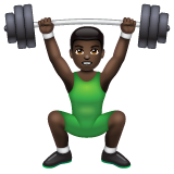 Man Lifting Weights: Dark Skin Tone on WhatsApp 2.19.244