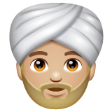 Person Wearing Turban: Medium-Light Skin Tone on WhatsApp 2.19.244