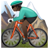 Person Mountain Biking: Dark Skin Tone on WhatsApp 2.19.244
