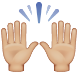 Raising Hands: Medium-Light Skin Tone on WhatsApp 2.19.244