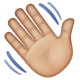 Waving Hand: Medium-Light Skin Tone on WhatsApp 2.19.244