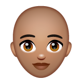 Woman: Medium Skin Tone, Bald on WhatsApp 2.19.244