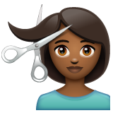 Woman Getting Haircut: Medium-Dark Skin Tone on WhatsApp 2.19.244