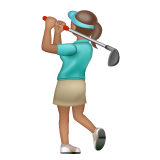 Woman Golfing: Medium Skin Tone on WhatsApp 2.19.244