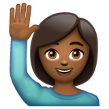 Woman Raising Hand: Medium-Dark Skin Tone on WhatsApp 2.19.244