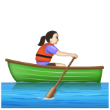 Woman Rowing Boat: Light Skin Tone on WhatsApp 2.19.244