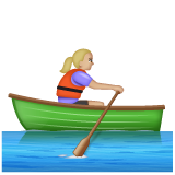 Woman Rowing Boat: Medium-Light Skin Tone on WhatsApp 2.19.244