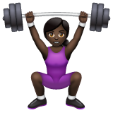 Woman Lifting Weights: Dark Skin Tone on WhatsApp 2.19.244