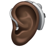 Ear with Hearing Aid: Dark Skin Tone on WhatsApp 2.19.352