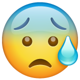 Anxious Face with Sweat on WhatsApp 2.19.352