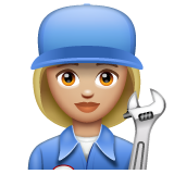 Woman Mechanic: Medium-Light Skin Tone on WhatsApp 2.19.352