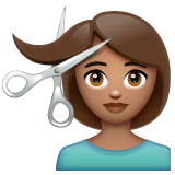 Person Getting Haircut: Medium Skin Tone on WhatsApp 2.19.352