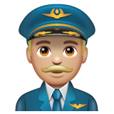 Man Pilot: Medium-Light Skin Tone on WhatsApp 2.19.352
