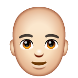 Man: Light Skin Tone, Bald on WhatsApp 2.19.352