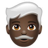 Man: Dark Skin Tone, White Hair on WhatsApp 2.19.352