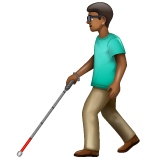 Man with White Cane: Medium-Dark Skin Tone on WhatsApp 2.19.352
